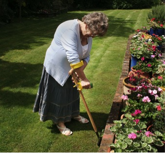 Morgan enjoys gardening again with Peta UK's long reach tools